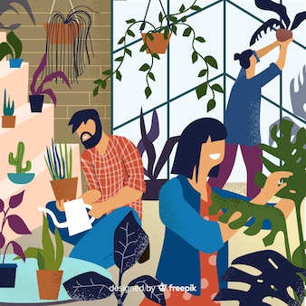 Amigos cuidando de plantas