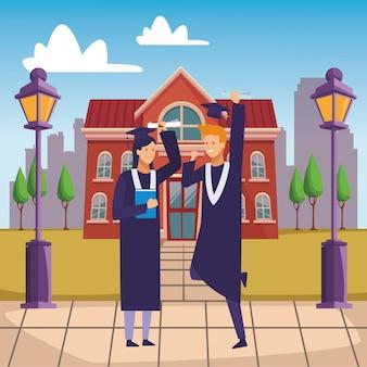 Amigos da cerimônia de formatura do campus