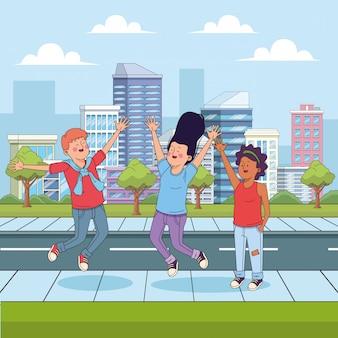 Amigos de adolescente dos desenhos animados se divertindo na rua