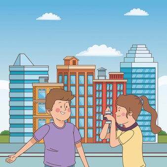 Amigos de adolescentes sorrindo e se divertindo dos desenhos animados
