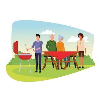 Amigos de avatar em um churrasco e piquenique