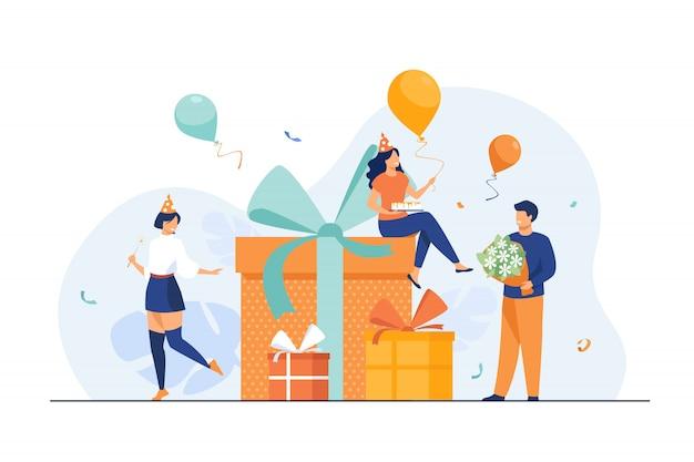 Amigos de desenho animado comemorando aniversário com balões e presentes