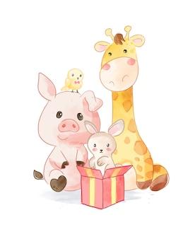 Amigos de desenho animado de animais fofos com ilustração de caixa de presente
