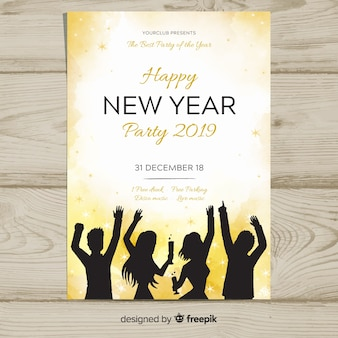 Amigos de festa silhueta cartaz de ano novo