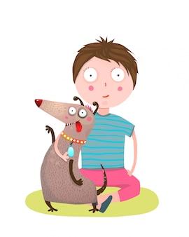 Amigos de menino e cachorro