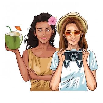 Amigos de mulheres de pop art sorrindo cartoon