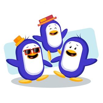 Amigos de pinguim bonitinho descontrair juntos ilustração vetorial