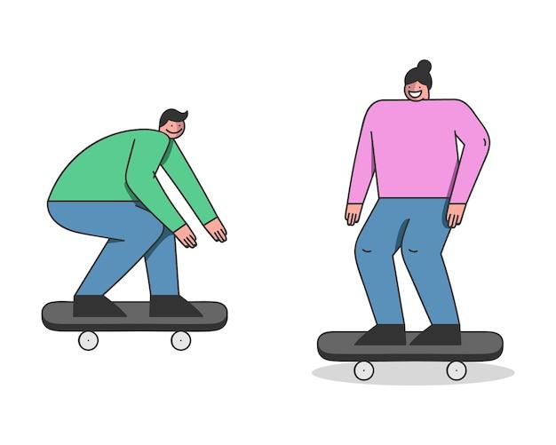 Amigos de skate fazendo acrobacias a bordo no skatepark