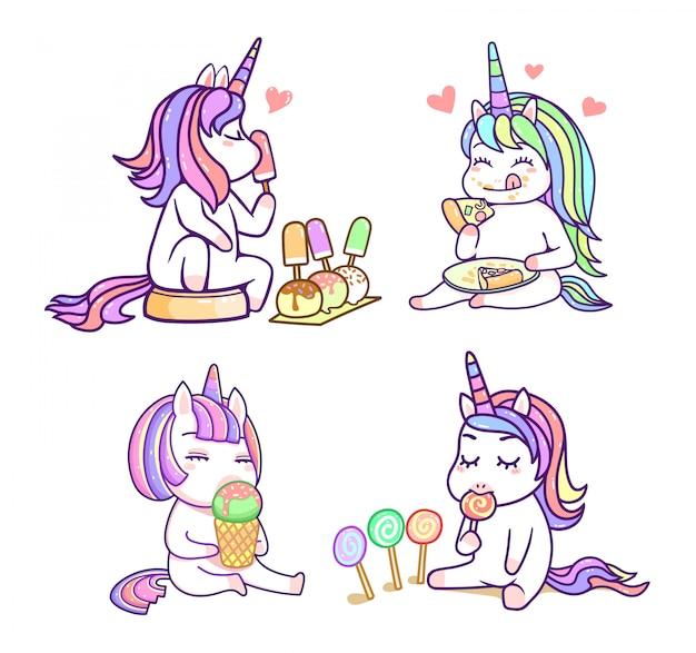 Amigos de unicórnio fofo kawaii com sobremesa doce cor pastel, conjunto feliz dos desenhos animados
