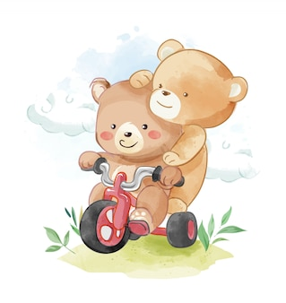 Amigos de urso dos desenhos animados, montando ilustração de triciclo