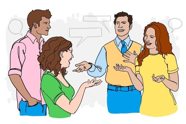 Amigos desenhados a mão conversando