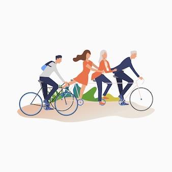 Amigos, desfrutando, ciclismo
