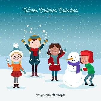 Amigos, desfrutando, neve, inverno, fundo