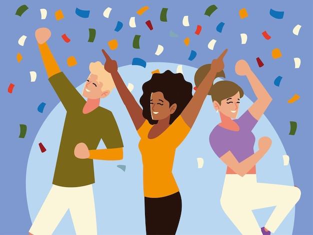 Amigos do grupo feliz comemorando decoração de confete de festa