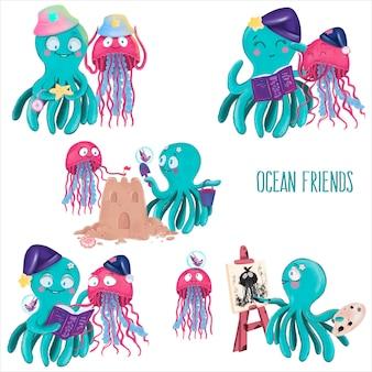 Amigos do oceano, água-viva e borboleta, polvo, elementos isolados do vetor