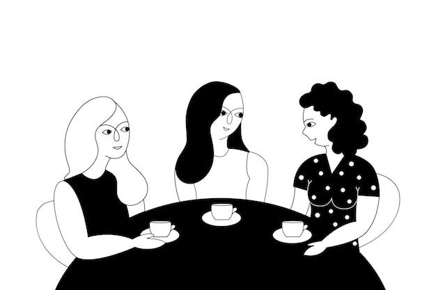Amigos do sexo feminino bebendo chá.