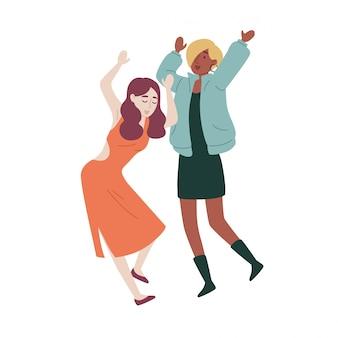 Amigos do sexo feminino dançando.