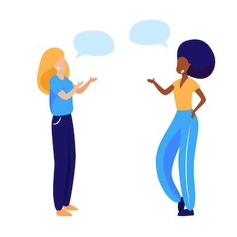 Amigos do sexo feminino discutindo notícias