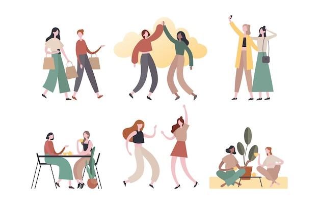 Amigos do sexo feminino fazendo várias atividades. ilustração plana