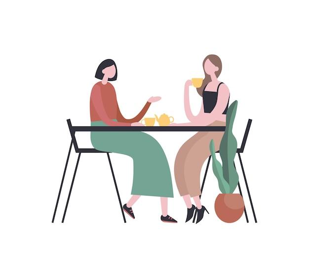 Amigos do sexo feminino tomando chá e conversando. ilustração