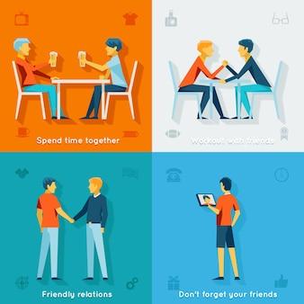 Amigos e conceitos de empresa amigáveis. equipe de amizade, comunidade social, juntos felizes,