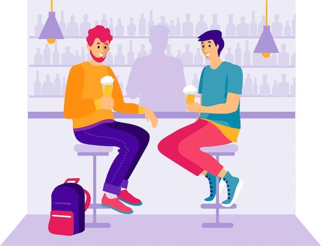 Amigos, em, um, café, apartamento, caricatura, estilo
