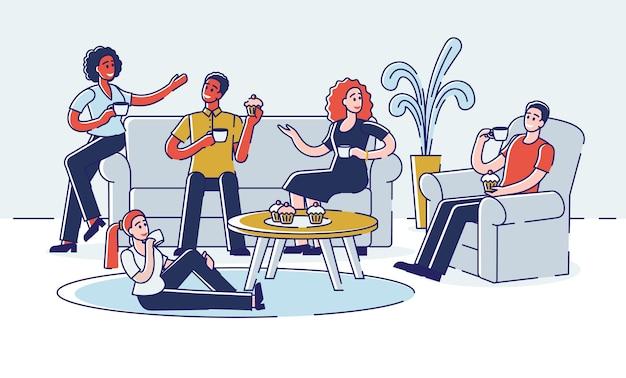Amigos estão se comunicando e passando tempo juntos em casa. jovens conversando, relaxando com bebidas quentes e comendo cupcakes. desenho de contorno linear plana.