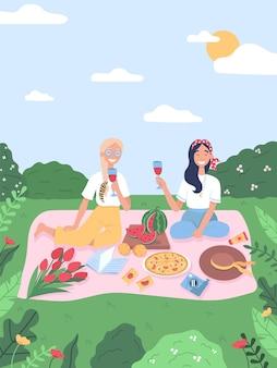 Amigos fazem piquenique no parque. meninas em atividades recreativas de verão.