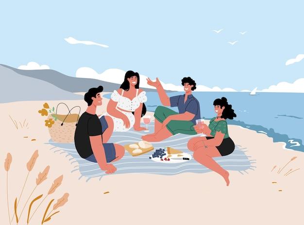 Amigos fazem um piquenique à beira-mar nas férias de verão ao ar livre. fundo com paisagem marinha