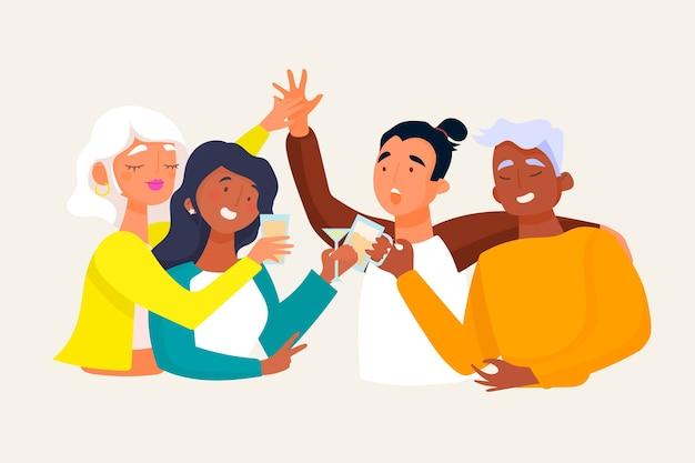 Amigos felizes brindando juntos