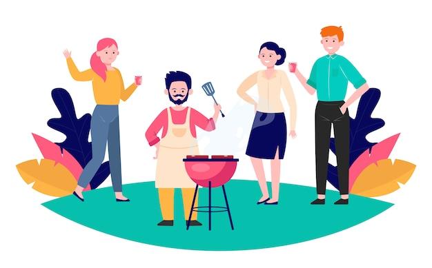 Amigos felizes curtindo a festa de churrasco