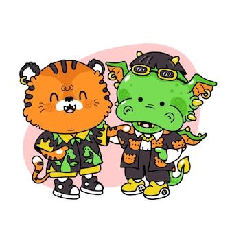 Amigos fofos e engraçados de tigres e dragões