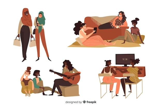 Amigos, gastando, tempo, junto, ilustrado