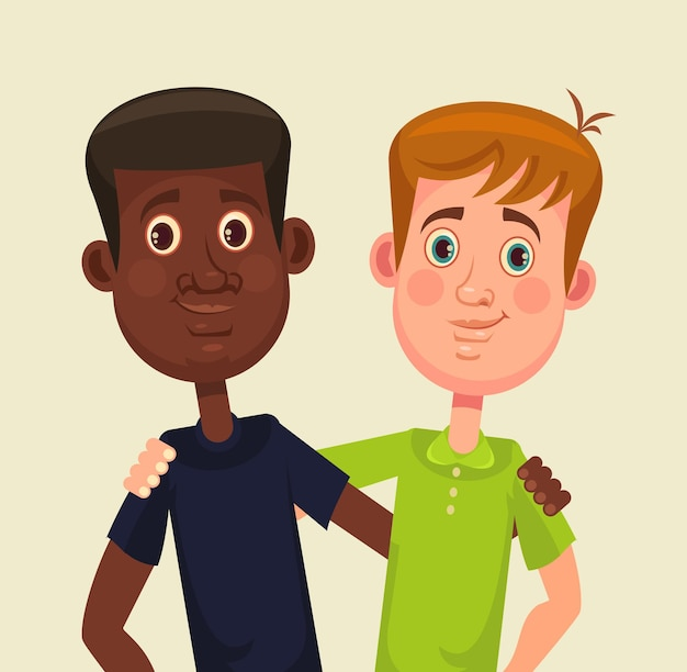 Amigos internacionais. homens negros e brancos. ilustração em vetor plana dos desenhos animados
