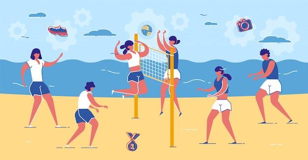 Amigos jogam vôlei na praia de areia perto do mar.