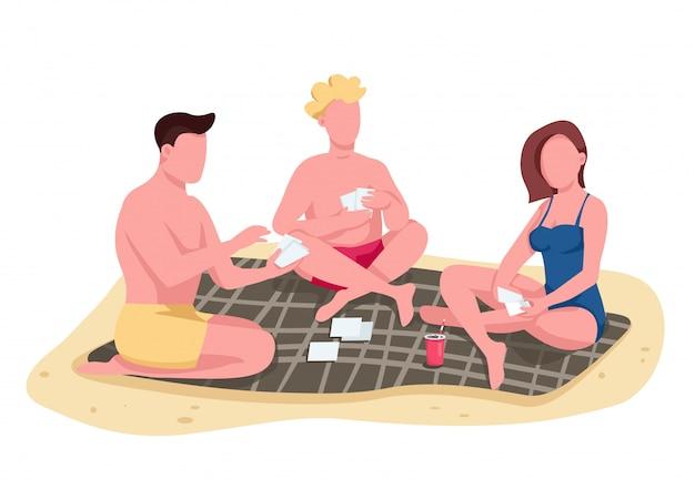 Amigos jogando cartas na praia cor plana vector caracteres sem rosto. pessoas sentadas no cobertor, tomando banho de sol. ilustração isolada dos desenhos animados de recreação