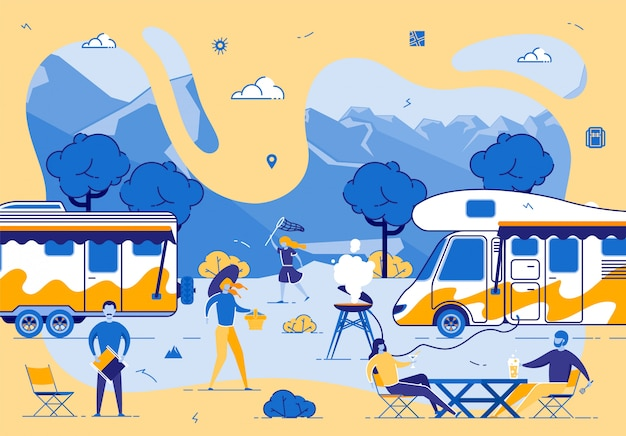 Amigos jovens empresa relaxar no acampamento de verão