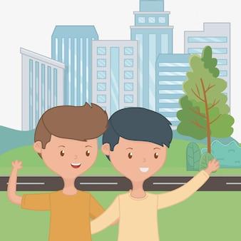 Amigos meninos adolescentes