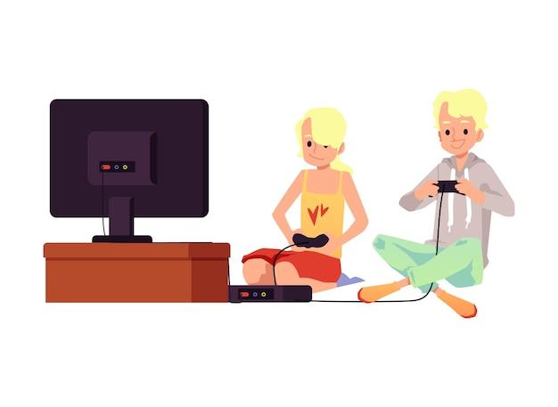 Amigos meninos jogando videogame usando o console do playstation da tv em casa, ilustração em branco