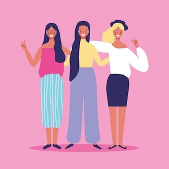 Amigos mulheres sorrindo