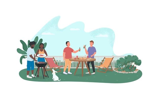 Amigos na festa de churrasco 2d banner da web, pôster.