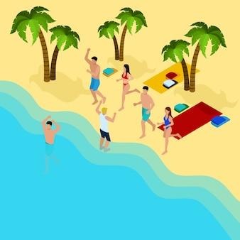 Amigos na praia ilustração