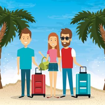 Amigos nas férias de verão na praia