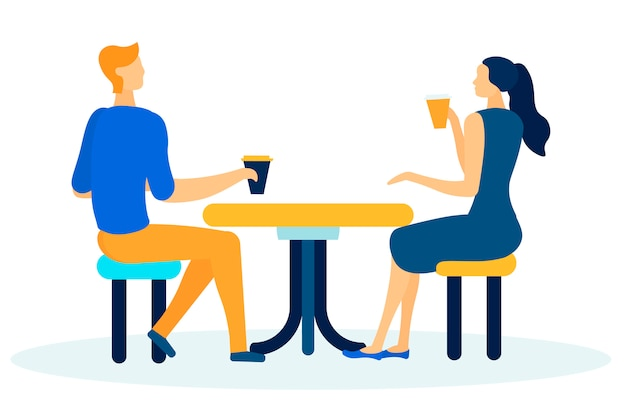 Amigos ou colegas de trabalho tendo desenhos animados coffee break