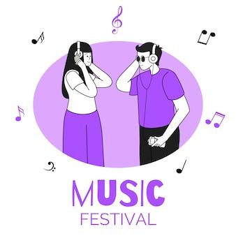 Amigos ouvindo música, casal na ilustração do quadro circular. festival de música, festa, discoteca. amantes da música com fones de ouvido plana caracteres de contorno isolados no branco