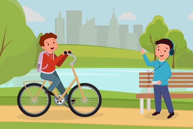 Amigos que encontram-se na ilustração urbana do parque. atividade ao ar livre de pessoas, lazer e passatempo
