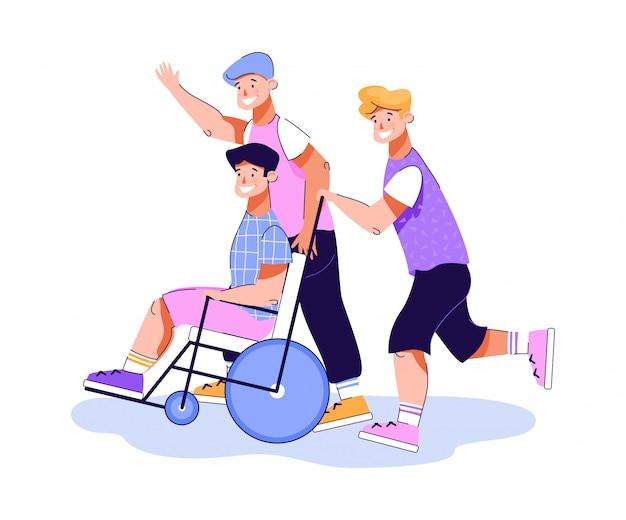 Amigos se divertindo com seu companheiro com deficiência, ilustração
