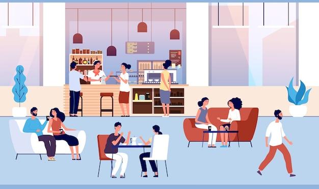 Amigos tomam café com massa em cafeteria