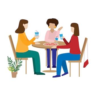 Amigos tomando café e conversando.