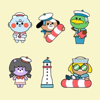 Amiguinhos fantasia de verão doodle conjunto de ilustração